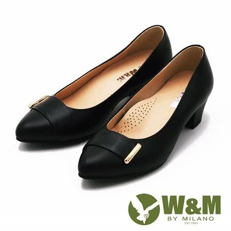W&M 真皮素面質感高跟鞋 女鞋-黑(另有粉)