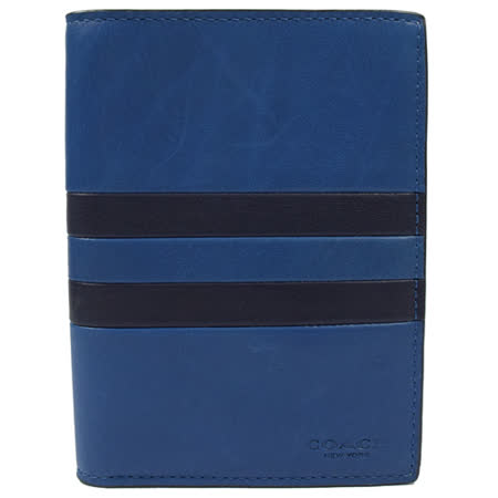COACH 馬車LOGO烙印撞色條紋證信用卡護照夾.藍 93543