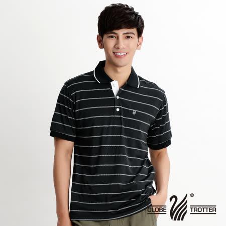 【遊遍天下】MIT台灣製男款抗UV涼爽吸濕排汗機能POLO衫S156黑條格