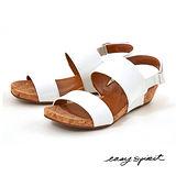 Easy Spirit--漆皮一字寬帶楔型涼鞋--輕盈白