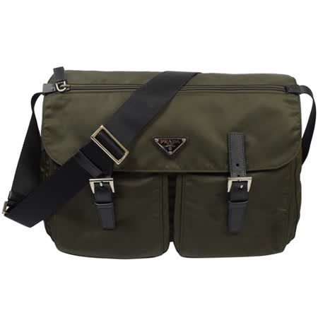 PRADA 經典LOGO尼龍帆布皮飾邊雙扣大斜背包.墨綠