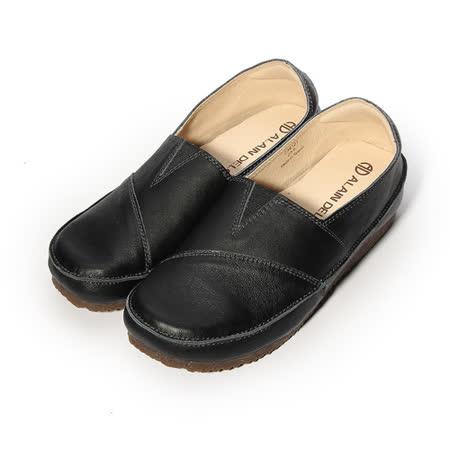 (女) 亞蘭德倫 真皮寬楦休閒皮鞋 黑 女鞋 鞋全家福