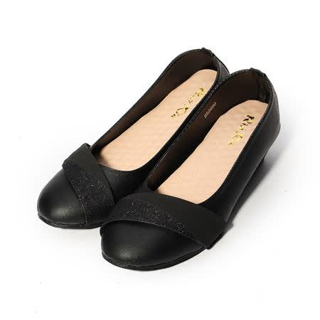(女) Rin Rin 金蔥橫帶楔形鞋 黑 女鞋 鞋全家福