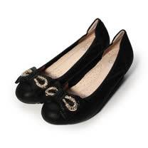 (女) AGAPE 真皮蝴蝶飾釦跟鞋 黑 女鞋 鞋全家福