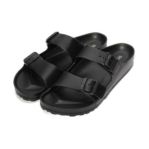 (男) ARRIBA 輕量腳床雙帶拖鞋 黑 男鞋 鞋全家福