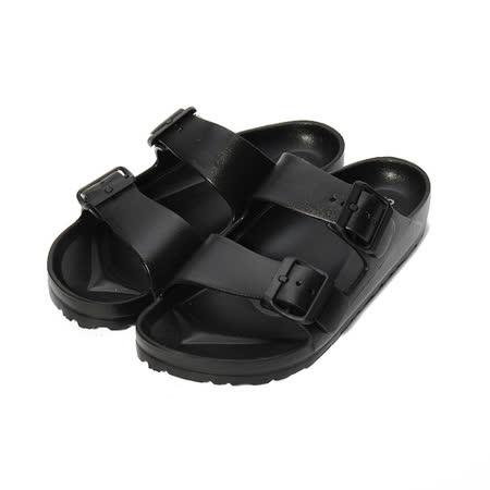 (女) ARRIBA 輕量腳床雙帶拖鞋 黑 女鞋 鞋全家福
