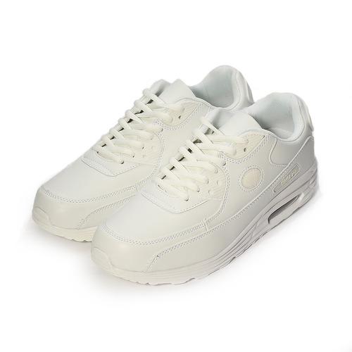 (男) GIOVANNI VALENTINO 素色復古氣墊休閒鞋 白 男鞋 鞋全家福
