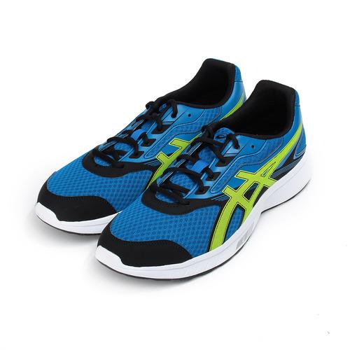 男  ASICS STORMER 跑鞋 藍螢綠 T741N4~4507 男鞋 鞋全家福