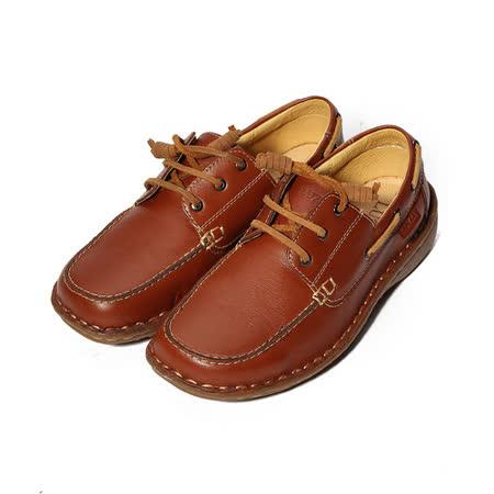 (女) LUZZI 真皮縫線帆船鞋 棕 女鞋 鞋全家福