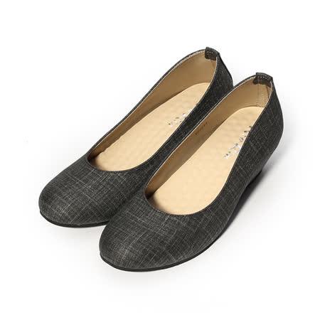 (女) Rin Rin 典雅細格紋楔形鞋 黑 女鞋 鞋全家福