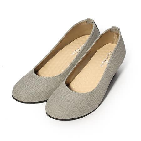(女) Rin Rin 典雅細格紋楔形鞋 灰 女鞋 鞋全家福