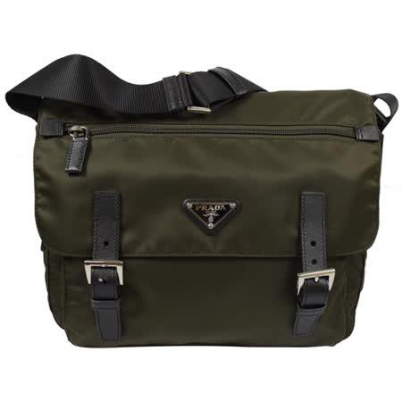 PRADA 經典三角LOGO尼龍帆布翻蓋雙扣斜背包.墨綠