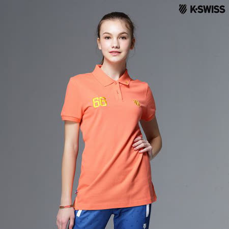 【K-Swiss】Solid Polo短袖Polo衫-女-橘