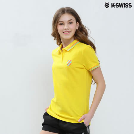 【K-Swiss】Solid Polo短袖Polo衫-女-黃