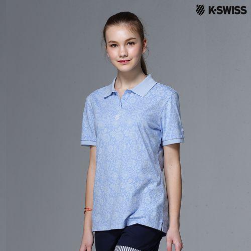 K~Swiss Allover Print Polo短袖Polo衫~女~天空藍