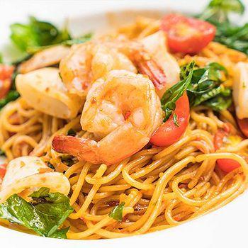 義式主廚系列 南洋風味鮮蝦義大利麵4份組 (麵200g+醬300g)