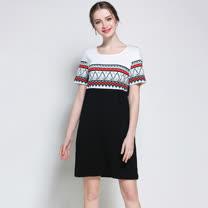 【最水】減齡又顯瘦印花A-Line洋裝 (黑,L -2L )