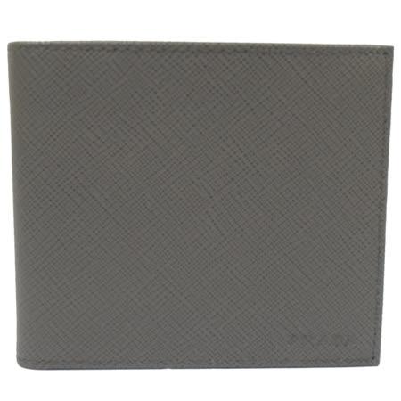 PRADA 經典LOGO烙印防刮皮革八卡雙折短夾.灰