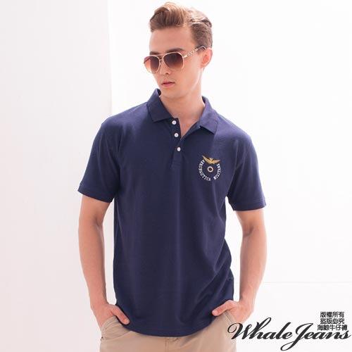 男款時尚百搭電繡圖案情侶POLO衫-男-2色_藍