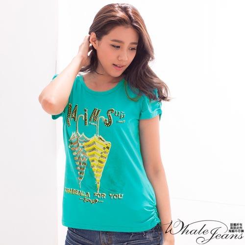 夏日雨傘彩鑽公主袖抓皺圓領T~Shirt~2色_土耳其藍