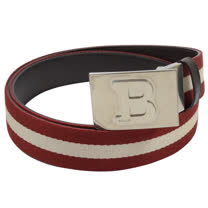BALLY 經典B LOGO皮革紅白紅織帶雙面皮帶.深 100CM