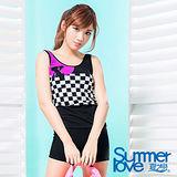 【SUMMERLOVE夏之戀】大女賽車風長版二件式S17706