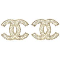 CHANEL 香奈兒 經典雙C LOGO菱格造型耳環.金