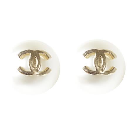 CHANEL 香奈兒 經典雙C LOGO大珍珠造型耳環.金
