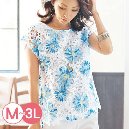 日本Portcros 預購-高雅水溶蕾絲印花上衣(共兩色/M-3L)
