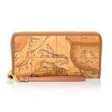 Alviero Martini 義大利地圖包 手掛式12卡拉鍊皮夾(大)-地圖黃