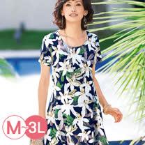 日本Portcros 預購-傘擺印花長版上衣(共六色M-3L)