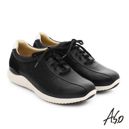 A.S.O 3D超動能 真皮沖孔奈米綁帶休閒男鞋(黑)