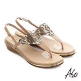 A.S.O 嬉皮假期 T字飾釦拼接涼鞋(米)