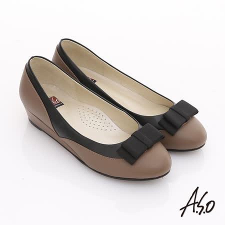 A.S.O 粉領之戀 全真皮織帶復古甜美楔型鞋(卡其)