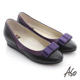 A.S.O 粉領之戀 全真皮織帶復古甜美楔型鞋(紫)