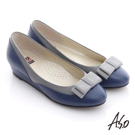 A.S.O 粉領之戀 全真皮織帶復古甜美楔型鞋(藍)