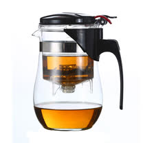 中式茶葉分離壓嘴玻璃壺/飄逸壺500ml(BY-GK05)