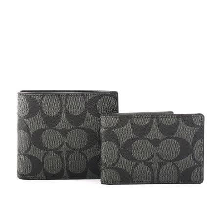 【COACH】C  LOGO防刮皮革短夾/附證件收納夾(黑灰)