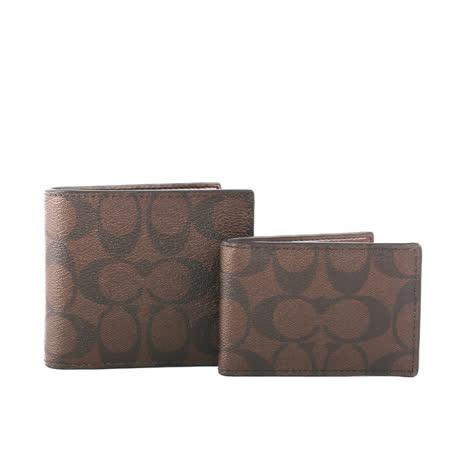 【COACH】C LOGO防刮皮革短夾/附證件收納夾(巧克力色)
