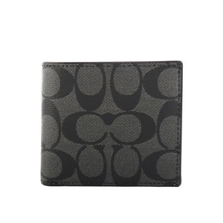 【COACH】C LOGO防刮皮革零錢袋短夾(黑灰)