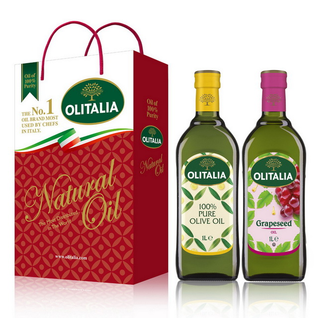Olitalia奧利塔純橄欖油+葡萄籽油禮盒組(1000mlx2瓶)