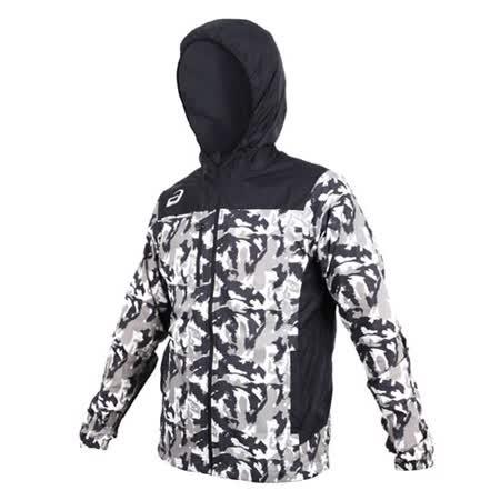 (男) ASICS 平織外套-連帽外套 慢跑 路跑 亞瑟士 黑灰白