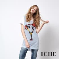 ICHE 衣哲 設計感拼貼印花造型長版T恤上衣 兩色