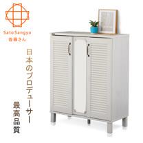【Sato】GINA歲月如歌百葉鏡面雙門鞋櫃‧幅75cm(橡木白)