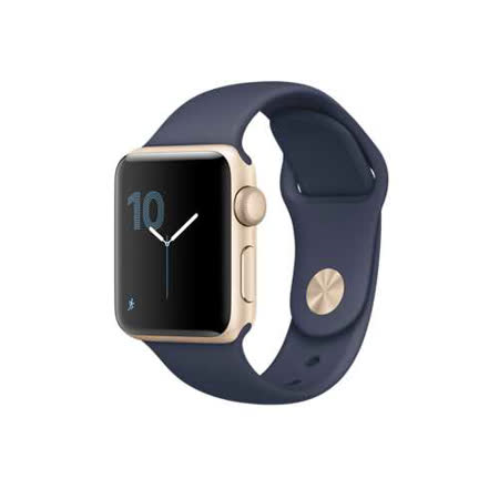 Apple Watch Series 1 38mm/A ,38公釐 金色鋁金屬錶殼 搭配午夜藍色運動型錶帶 (MQ102 TA/A)