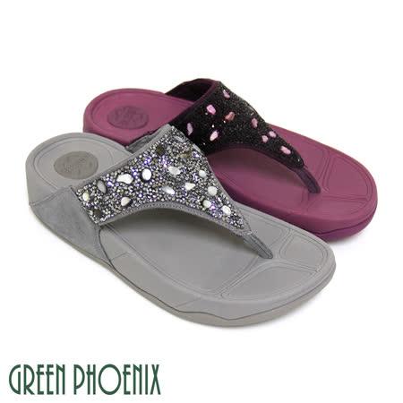 【GREEN PHOENIX】寬版T字不對稱燙碎鑽反絨布厚底夾腳拖鞋