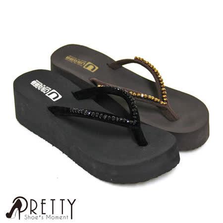 【Pretty】低調串珠厚底夾腳拖鞋