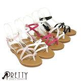 【Pretty】小清新百搭交叉編織繫踝羅馬涼鞋