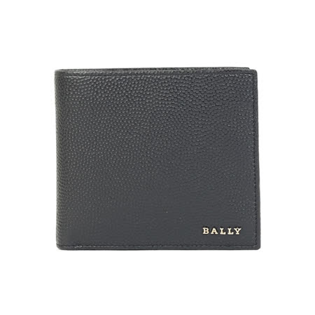 BALLY 防刮皮革金印字男對折短夾(深藍)