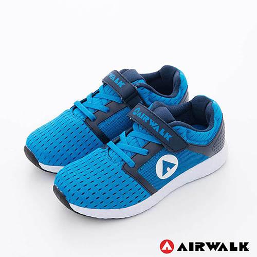 IRWALK(童)- 小魚遊 透氣網布方便黏扣兒童運動鞋-中藍藍